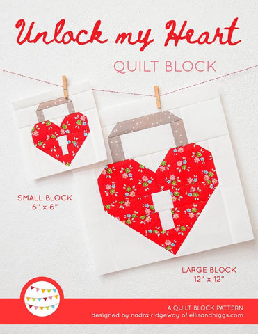 Pattern, Unlock My Heart Valentine Love Quilt Block by Ellis & Higgs (digital download)