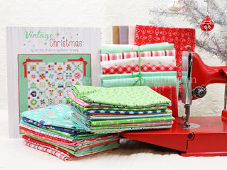 "Load image into Gallery viewer, Quilt Kit, ""Cozy Christmas"" Fabric COLLECTION + Pattern BOOK, Vintage Christmas - by Lori Holt for Riley Blake"