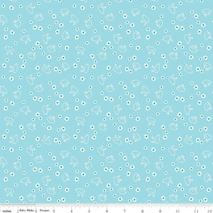 "Fabric, Bee Backings & Borders by Lori Holt WIDE BACK 108"" - CHICK AQUA (by the yard)"