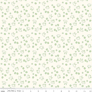 "Fabric, Bee Backings & Borders by Lori Holt WIDE BACK 108"" - CHICK GREEN (by the yard)"