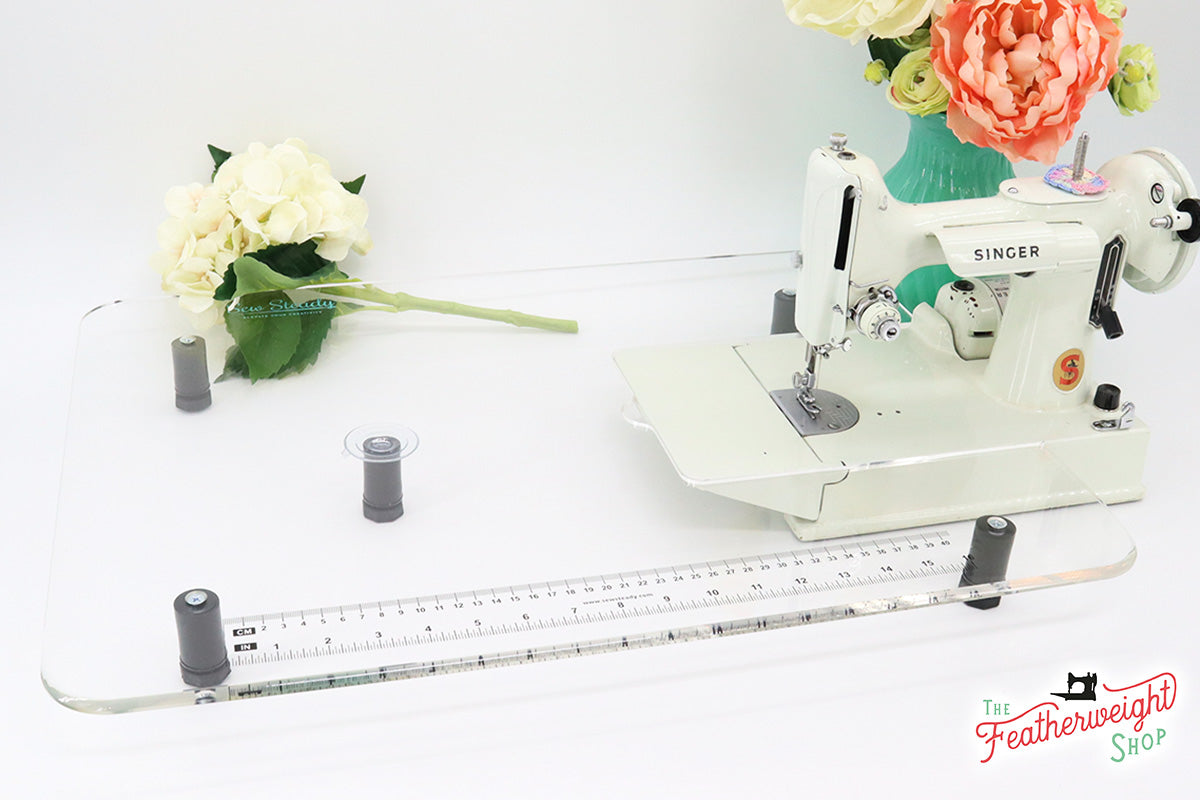 Sew Steady CLEAR Table Extension for WHITE Singer Featherweight 221K7 (Table extension ONLY)