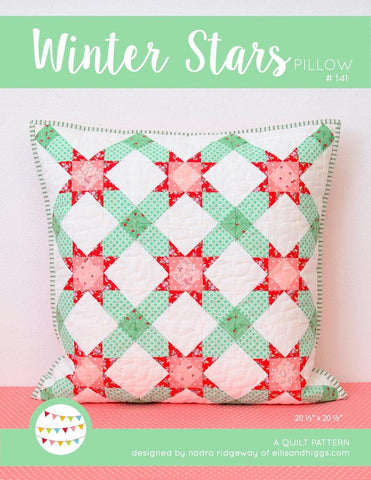 Pattern, Winter Stars Quilted Pillow Cover by Ellis & Higgs (digital download)