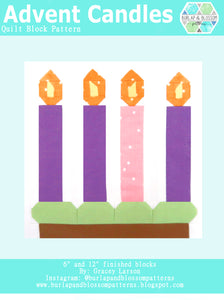 Pattern, Advent Candles Quilt Block by Burlap and Blossom (digital download)