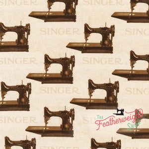 Fabric, Singer Featherweight Sewing Machines - Black Featherweights (Sepia)