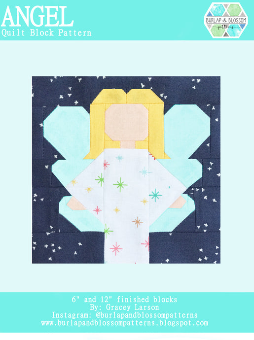 Pattern, Angel Quilt Block by Burlap and Blossom (digital download)