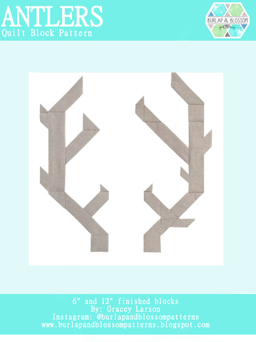 Pattern, Antlers Quilt Block by Burlap and Blossom (digital download)