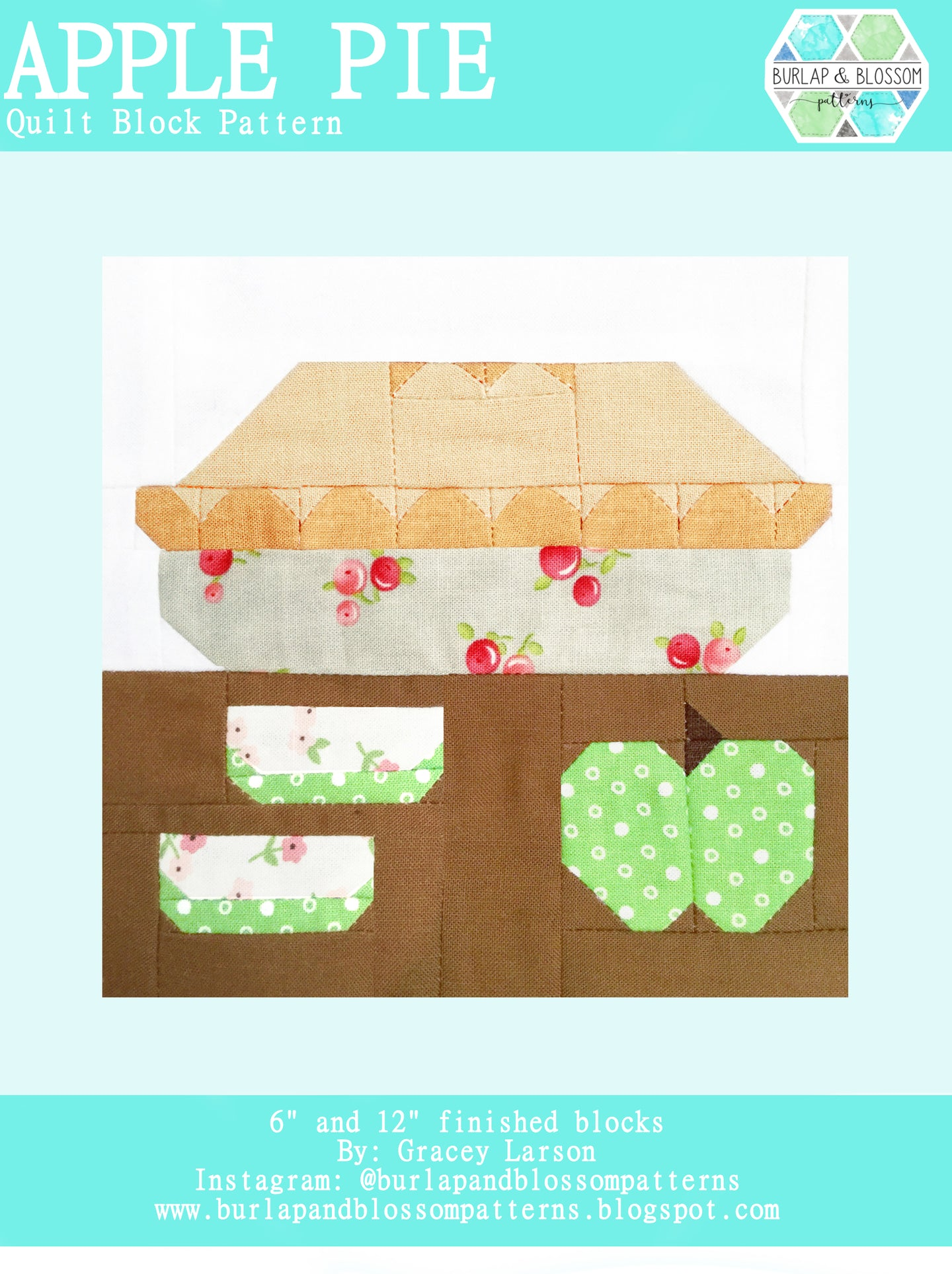 Pattern, Apple Pie Quilt Block by Burlap and Blossom (digital download)