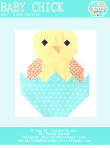 Pattern, Baby Chick Quilt Block by Burlap and Blossom (digital download)