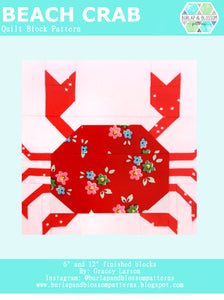 Pattern, Beach Crab Quilt Block by Burlap and Blossom (digital download)