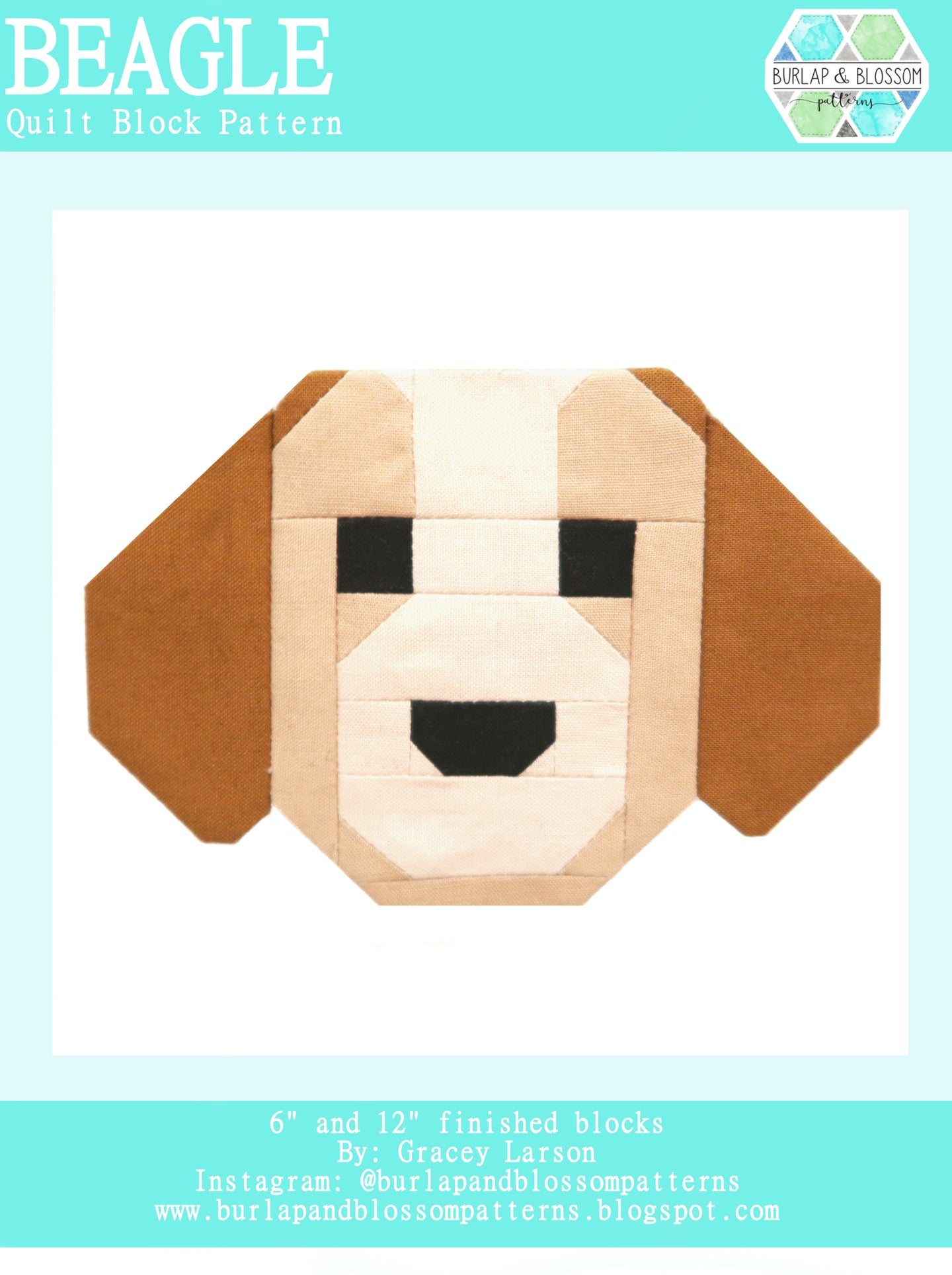 Pattern, Beagle Dog Quilt Block by Burlap and Blossom (digital download)