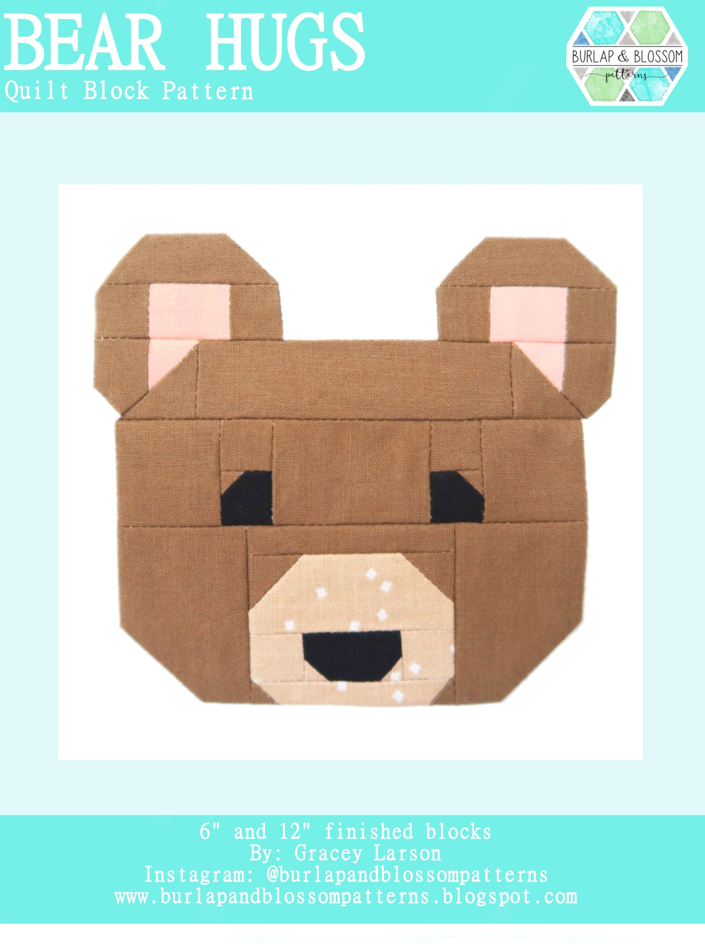 Pattern, Bear Hugs Quilt Block by Burlap and Blossom (digital download)