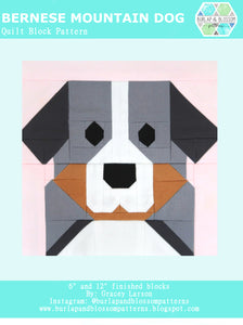 Pattern, Bernese Mountain Dog Quilt Block by Burlap and Blossom (digital download)