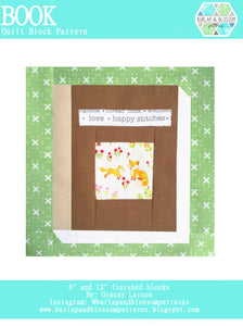 Pattern, Book Quilt Block by Burlap and Blossom (digital download)