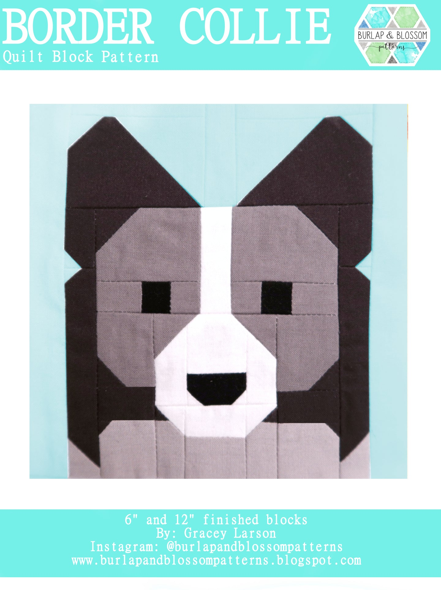 Pattern, Border Collie Dog Quilt Block by Burlap and Blossom (digital download)