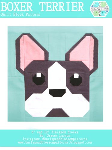 Pattern, Boston Terrier Dog Quilt Block by Burlap and Blossom (digital download)