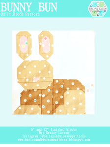 Pattern, Bunny Bun Quilt Block by Burlap and Blossom (digital download)
