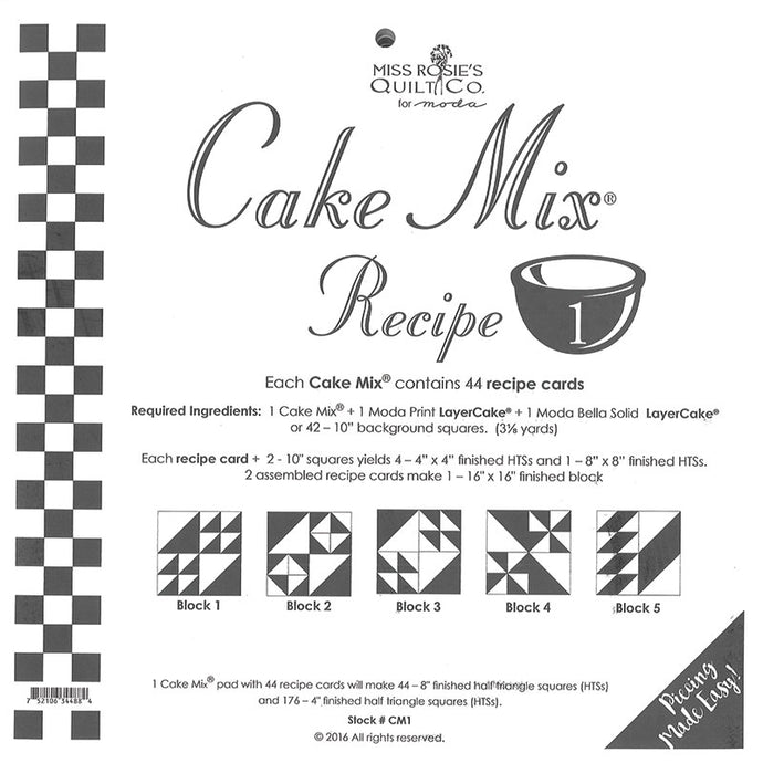 PATTERN, Miss Rosie's Quilt Co. - CAKE Mix Recipe #1