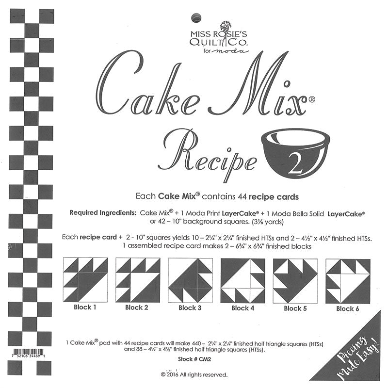 PATTERN, Miss Rosie's Quilt Co. - CAKE Mix Recipe #2