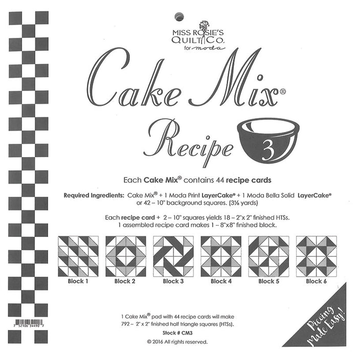PATTERN, Miss Rosie's Quilt Co. - CAKE Mix Recipe #3