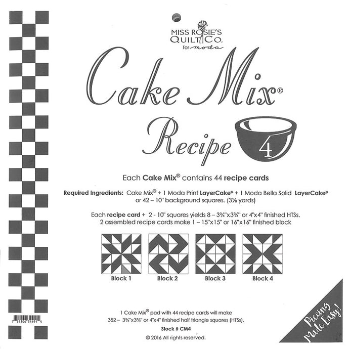 PATTERN, Miss Rosie's Quilt Co. - CAKE Mix Recipe #4
