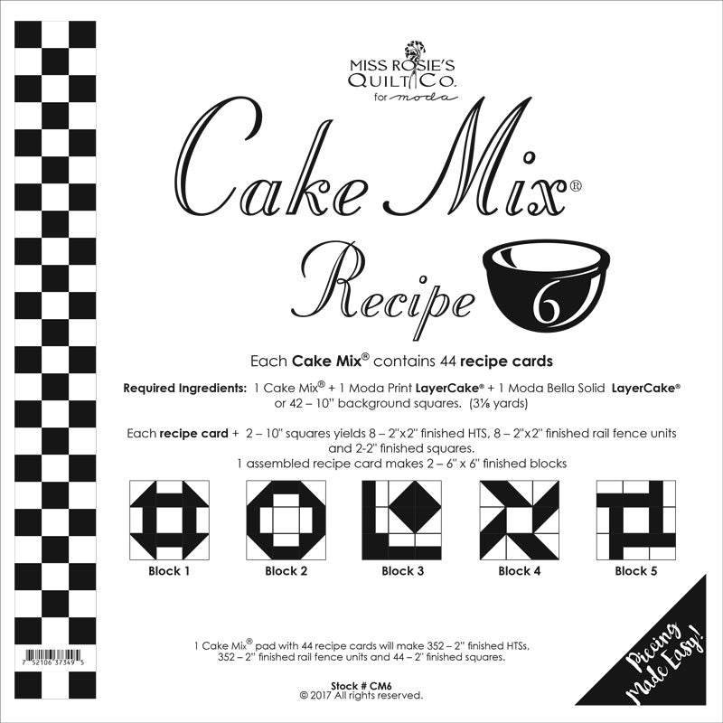 PATTERN, Miss Rosie's Quilt Co. - CAKE Mix Recipe #6