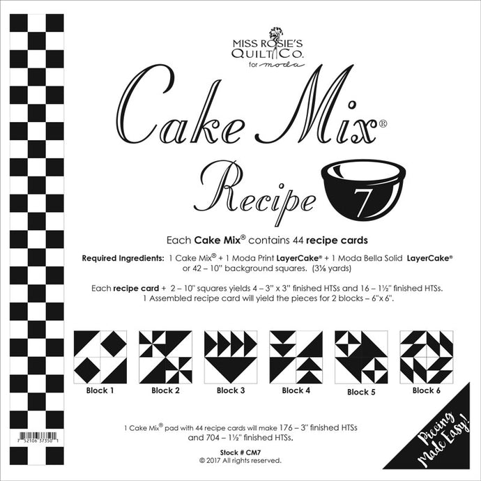 PATTERN, Miss Rosie's Quilt Co. - CAKE Mix Recipe #7