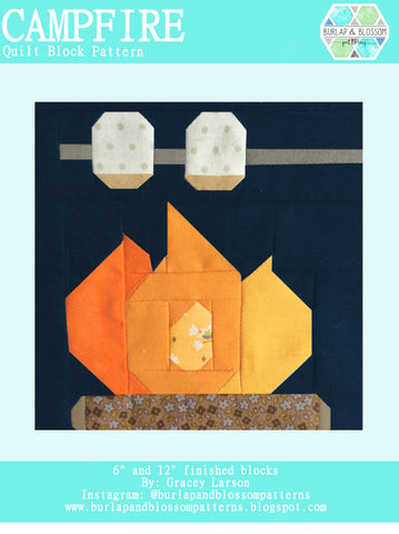 Pattern, Campfire Quilt Block by Burlap and Blossom (digital download)