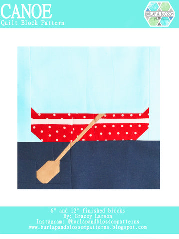 Pattern, Canoe Quilt Block by Burlap and Blossom (digital download)