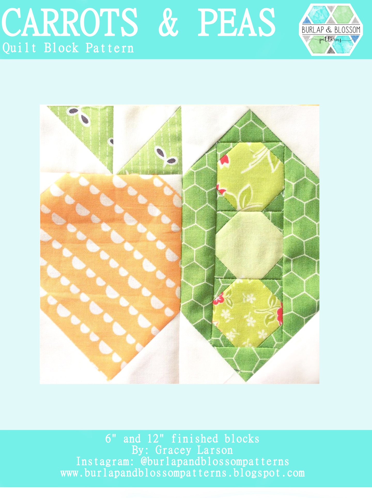 Pattern, Carrots and Peas Quilt Block by Burlap and Blossom (digital download)