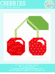 Pattern, Cherries Quilt Block by Burlap and Blossom (digital download)