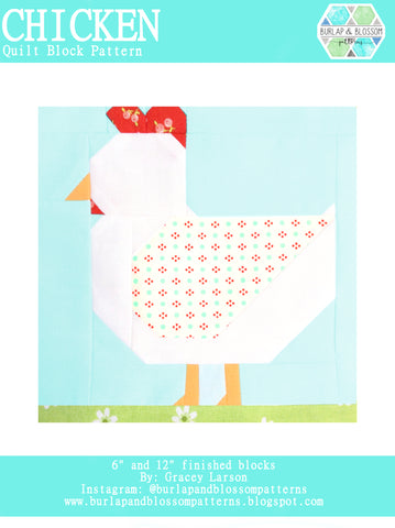 Pattern, Chicken Quilt Block by Burlap and Blossom (digital download)