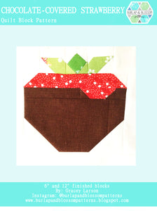 Pattern, Chocolate Covered Strawberry Quilt Block by Burlap and Blossom (digital download)