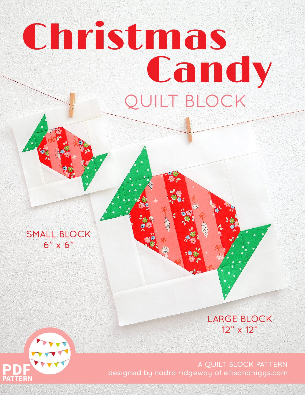 Pattern, Christmas Candy Quilt Block by Ellis & Higgs (digital download)