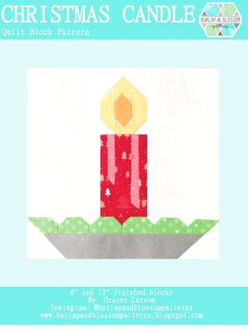 Pattern, Christmas Candle Quilt Block by Burlap and Blossom (digital download)