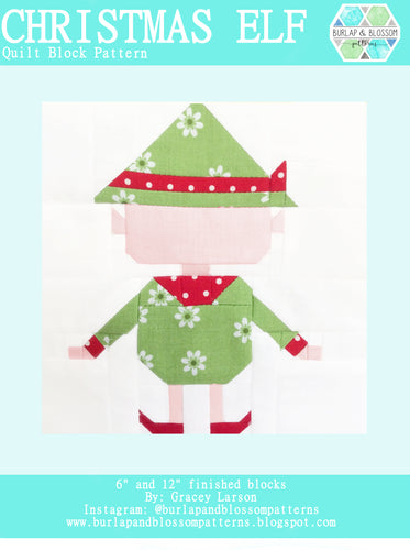 Pattern, Christmas Elf Quilt Block by Burlap and Blossom (digital download)
