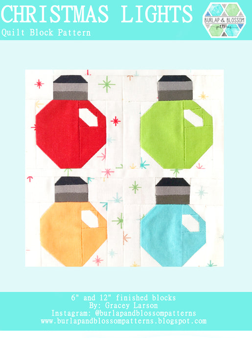Pattern, Christmas Lights Quilt Block by Burlap and Blossom (digital download)
