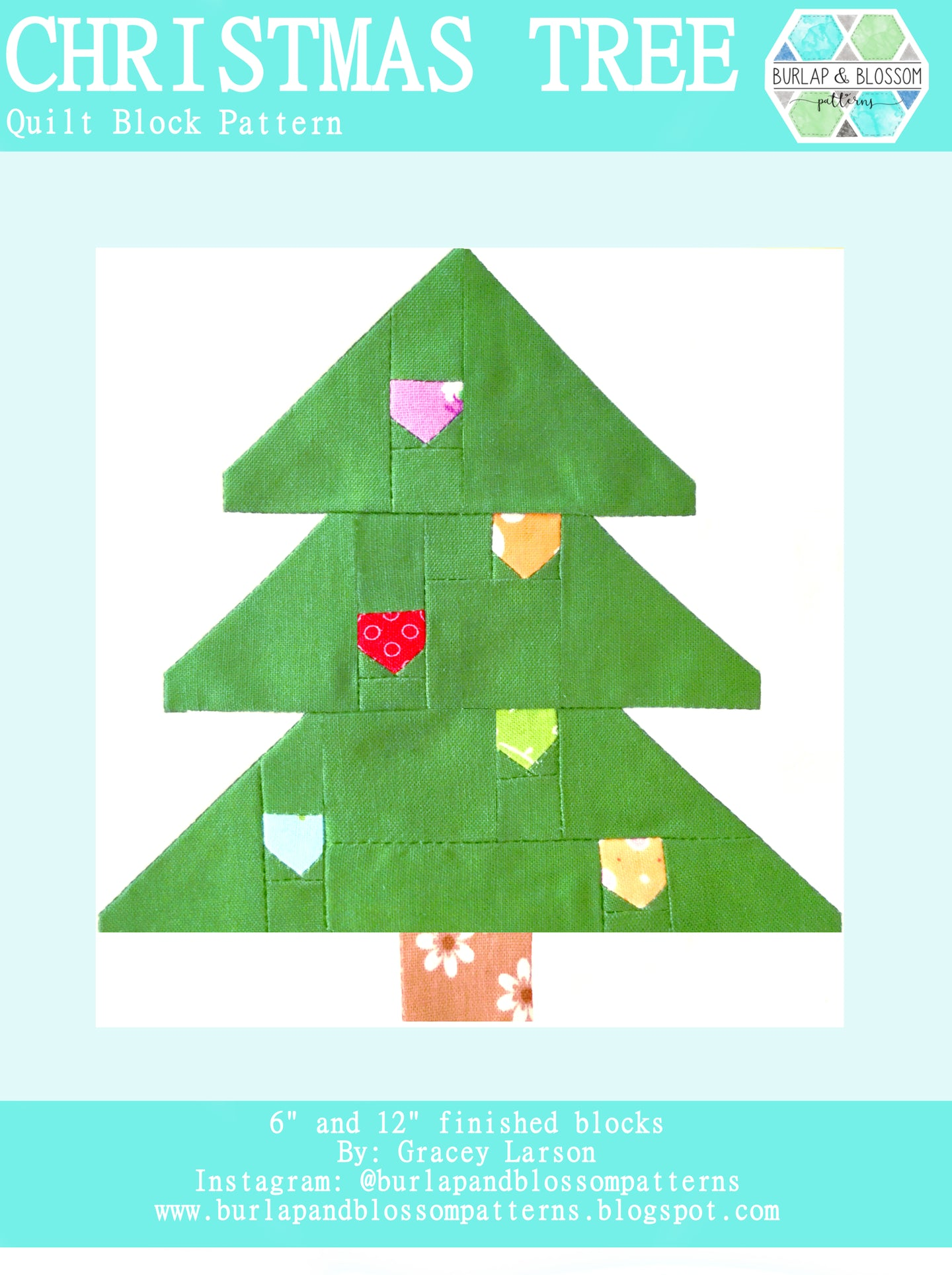 Pattern, Christmas Tree Quilt Block by Burlap and Blossom (digital download)