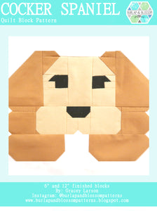 Pattern, Cocker Spaniel Dog Quilt Block by Burlap and Blossom (digital download)