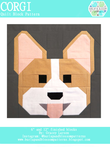 Pattern, Corgi Dog Quilt Block by Burlap and Blossom (digital download)
