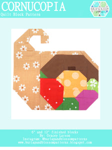 Pattern, Cornucopia Quilt Block by Burlap and Blossom (digital download)