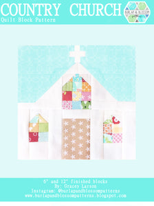Pattern, Country Church Quilt Block by Burlap and Blossom (digital download)