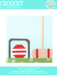 Pattern, Croquet Quilt Block by Burlap and Blossom (digital download)
