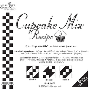 PATTERN, Cupcake Mix Recipe #3 by Miss Rosie's Quilt Co.