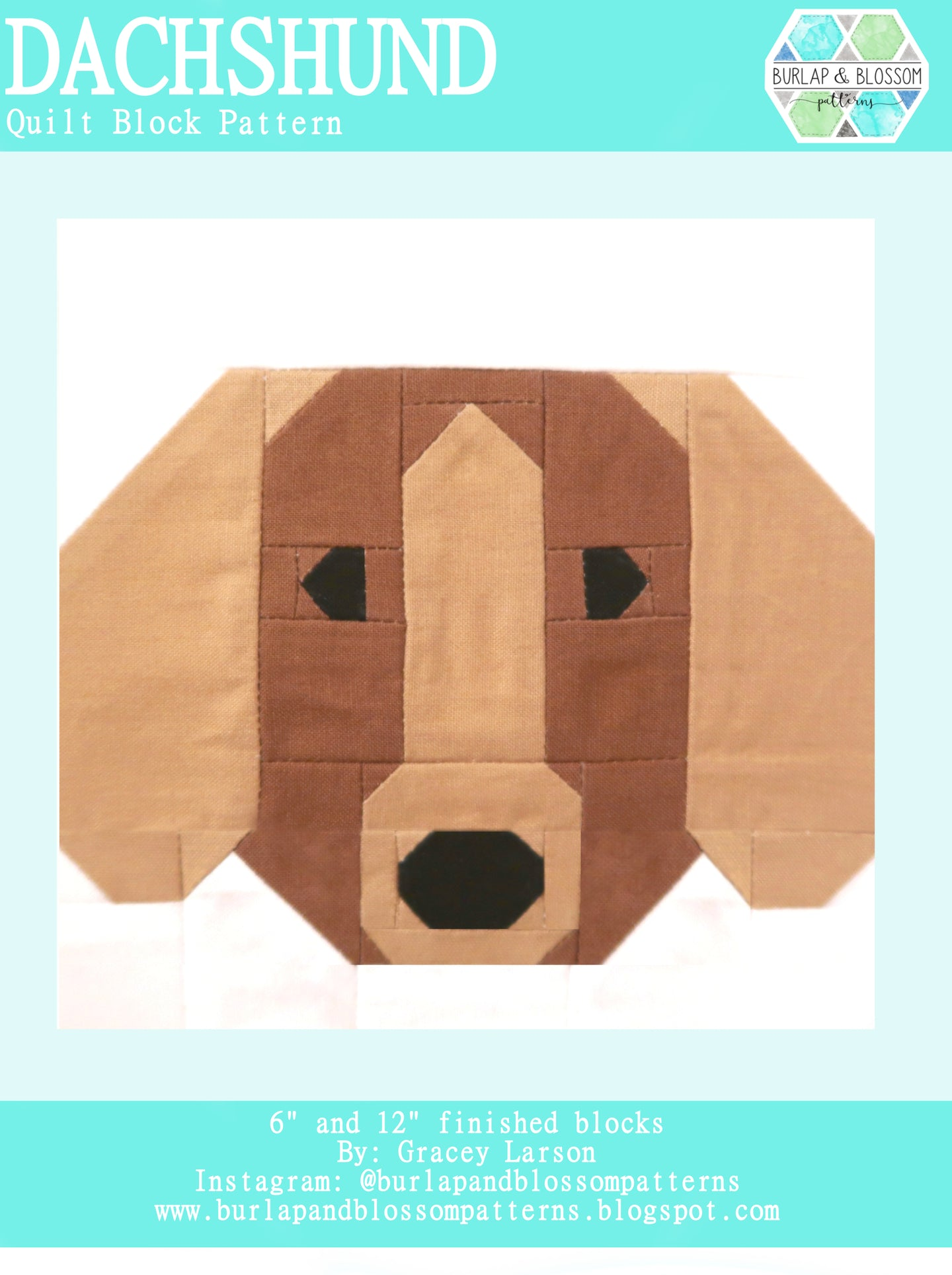 Pattern, Dachshund Dog Quilt Block by Burlap and Blossom (digital download)
