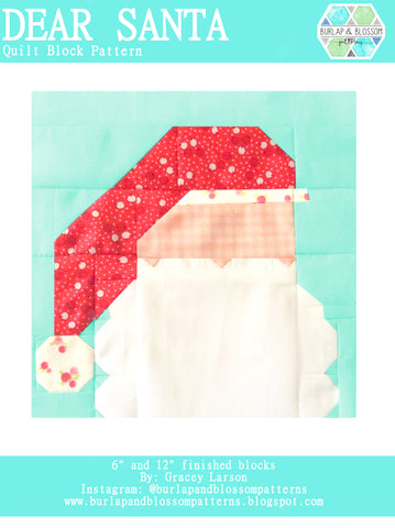 Pattern, Dear Santa Quilt Block by Burlap and Blossom (digital download)
