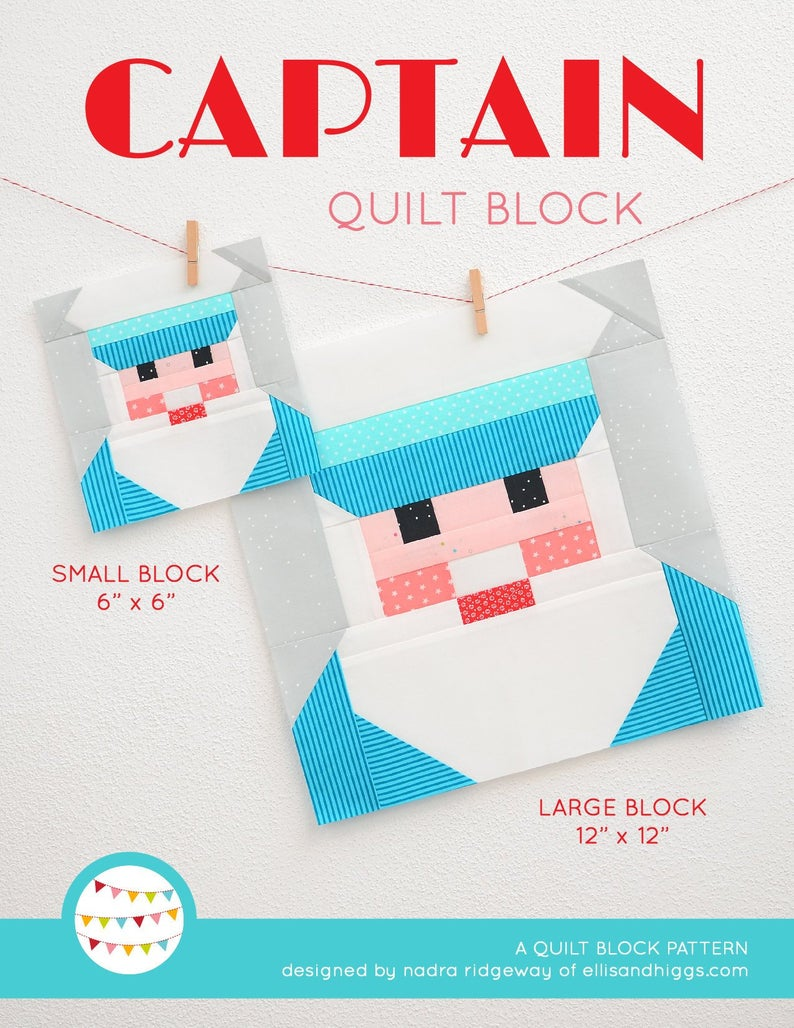 Pattern, Nautical Captain Quilt Block by Ellis & Higgs (digital download)