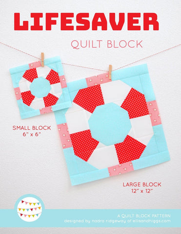 Pattern, Nautical Lifesaver Quilt Block by Ellis & Higgs (digital download)