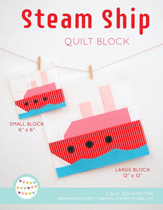 Pattern, Nautical Steamship Quilt Block by Ellis & Higgs (digital download)