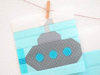 Load image into Gallery viewer, Pattern, Nautical Submarine Quilt Block by Ellis & Higgs (digital download)