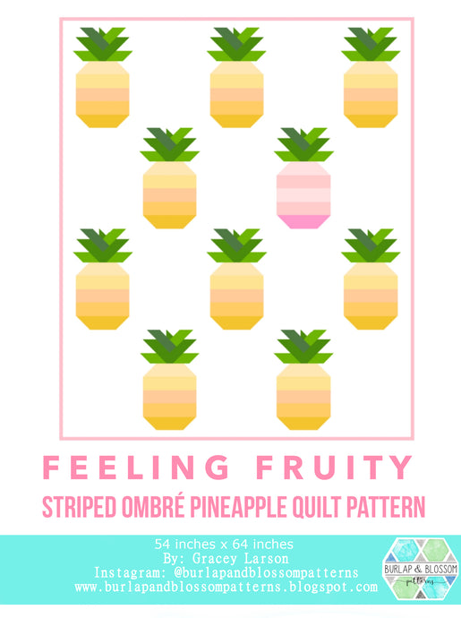 Pattern, Feeling Fruity Pineapple Quilt Block by Burlap and Blossom (digital download)